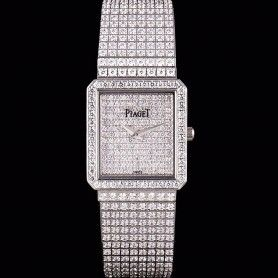 Piaget Limelight  Full-set Diamonds Square Case/Dial/Bracelet Silver Dauphine Hands Quartz Watch