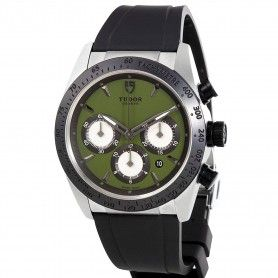 Fastrider Chrono Green Dial Black Rubber Men's Watch