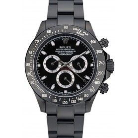 Daytona Black Ion Plated Tachymeter Black Stainless Steel Strap Black Dial