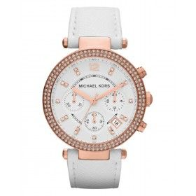 WOMENS CHRONOGRAPH WHITE LEATHER STRAP WATCH 39MM