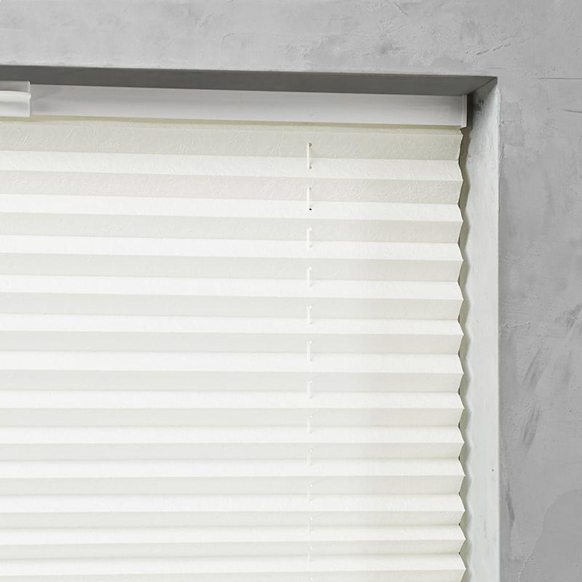 Plisségordijn gespannen - Lichtdoorlatend - Gebroken wit - 115cm x 130cm