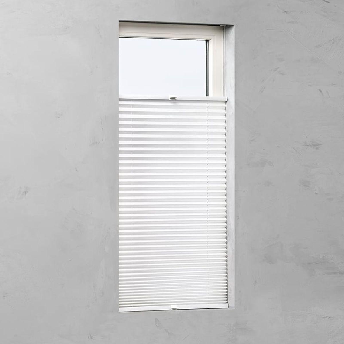 Plisségordijn gespannen - Lichtdoorlatend - Wit - 90cm x 130cm