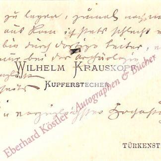 Krauskopf, Wilhelm, Kupferstecher, Radierer (1847-1921).