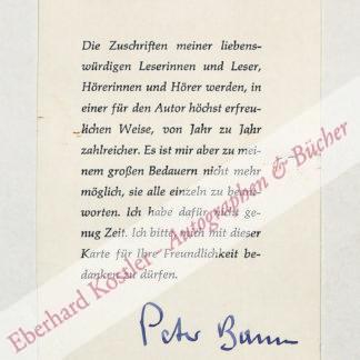 Bamm, Peter (d. i. Curt Emmerich), Schriftsteller (1897-1975).