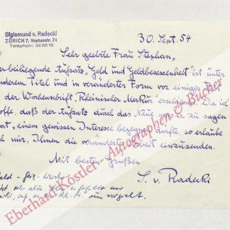 Radecki, Sigismund von, Schriftsteller (1891-1970).