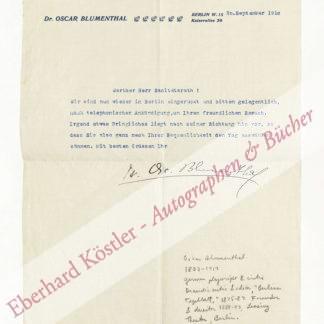 Blumenthal, Oskar, Schriftsteller (1852-1917).