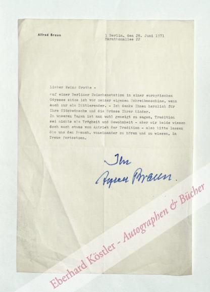 Braun, Alfred, Schriftsteller und Schauspieler (1888-1978).