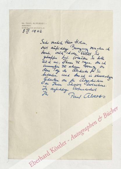 Alverdes, Paul, Schriftsteller (1897-1979).