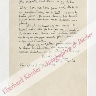 Freissler, Ernst Wolfgang (Pseud. Günter), Schriftsteller und Lektor (1884-1937).