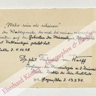 Wolff, Ferdinand von, Mineraloge (1874-1952).
