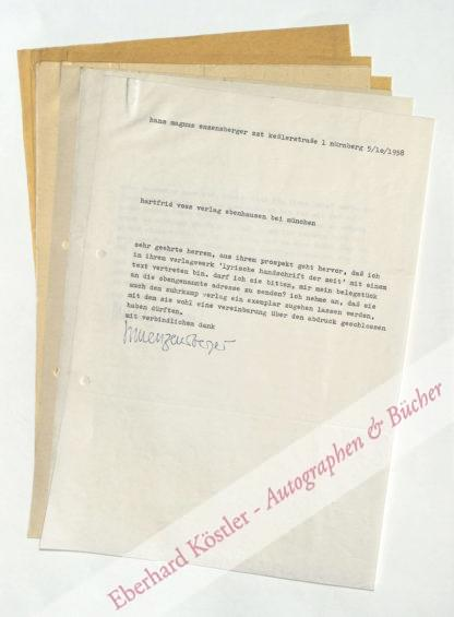 Enzensberger, Hans Magnus, Schriftsteller (geb. 1929).
