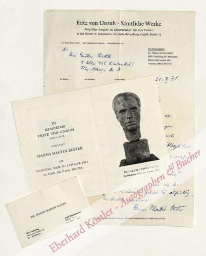 Elster, Hanns Martin, Schriftsteller und Verleger (1888-1983).