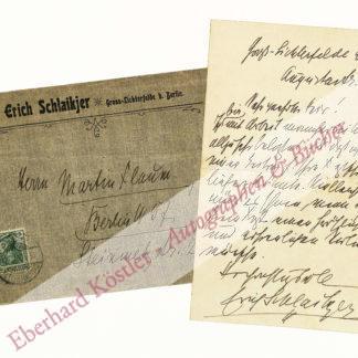 Schlaikjer, Erich, Schriftsteller (1867-1928).