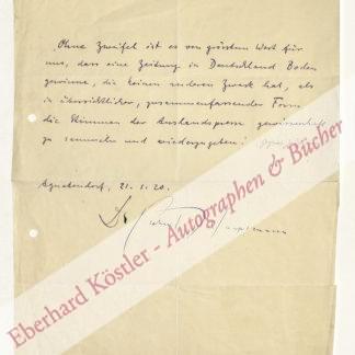 Hauptmann, Gerhart, Schriftsteller und Nobelpreisträger (1862-1946).