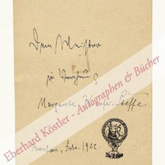 Kiefer-Steffe, Margarete, Dichterin und Lektorin (1881-1959).