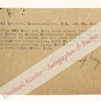 Meyer, Alfred Richard (Pseud. Munkepunke), Schriftsteller und Verleger (1882-1956).