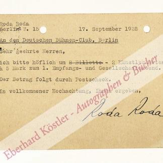 Roda Roda, Alexander (eigentlich A. [Sándor] Friedrich Rosenfeld, Schriftsteller (1872-1945).