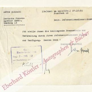 Schnack, Anton, Schriftsteller (1892-1973).