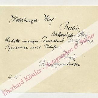 Thimig, Hugo, Schauspieler und Direktor des Wiener Burgtheaters (1854-1944).