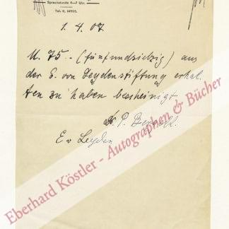 Leyden, Ernst Viktor von, Internist (1832-1910).