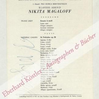 Magaloff, Nikita, Pianist (1912-1992).