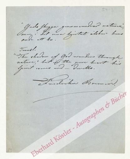 Bremer, Fredrika, Schriftstellerin (1801-1865).
