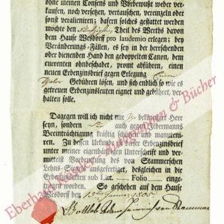 Erbzinsbrief -  Stammer-Wesdorf, Gottlob Adam Heinrich von, Gutsherr (Daten nicht ermittelt).
