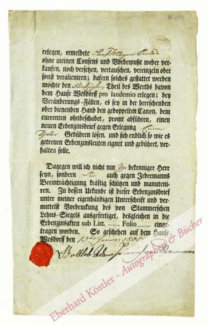 Erbzinsbrief -  Stammer-Wesdorf