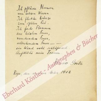 Goetz, Bruno, Schriftsteller und Übersetzer (1885-1954).