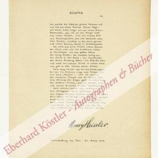 Heiseler, Henry von, Schriftsteller (1875-1928).