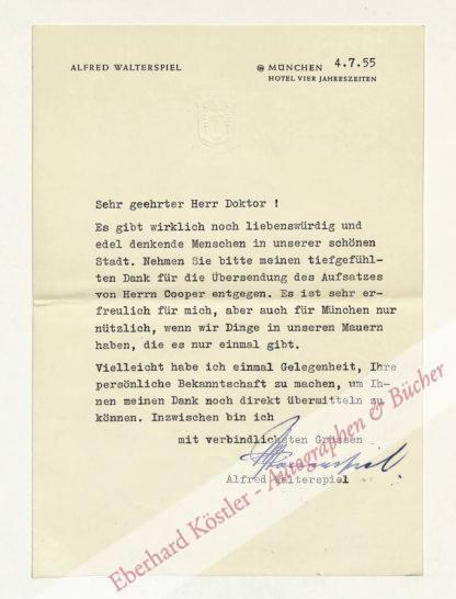 Walterspiel, Alfred, Koch, Gastronom und Hotelier (1881-1960).