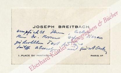 Breitbach, Josef, Schriftsteller (1903-1980).