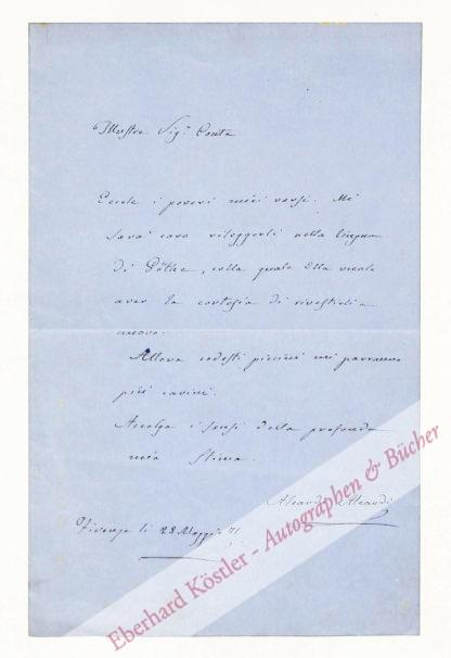 Aleardi, Aleardo (eig. Gaetano Maria), Schriftsteller (1812-1878).