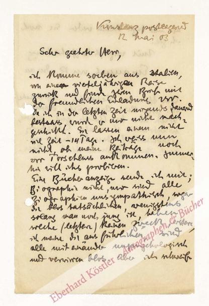 Bodman, Emanuel von und zu, Schriftsteller (1874-1946).