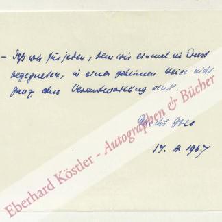 Goes, Albrecht, Schriftsteller und Pfarrer (1908-2000).