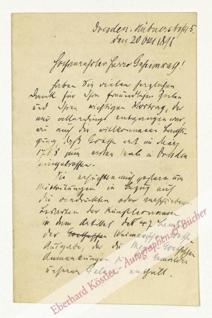 Goetheforscher -  Woermann, Karl, Schriftsteller (1844-1933).