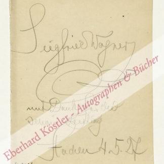 Wagner -  Wagner, Siegfried, Komponist und Regisseur (1869-1930).