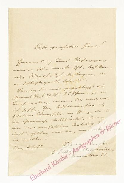 Fischer von Röslerstamm, Eduard, Schriftsteller und Autographensammler. (1848-1915).