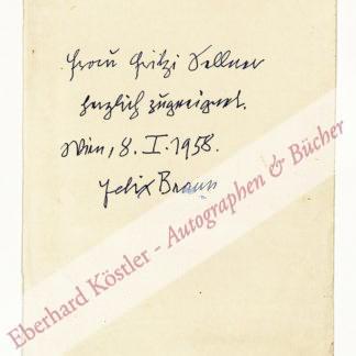 Braun, Felix, Schriftsteller (1885-1973).