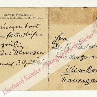 Frenssen, Gustav, Schriftsteller (1863-1945).