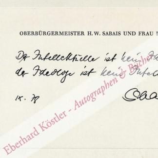 Sabais, Heinz Winfried, Schriftsteller und Oberbürgermeister (1922-1981).