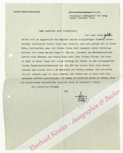 Dwinger, Edwin Erich, Schriftsteller (1898-1981).