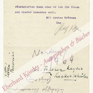 Kolb, Annette -  Kayser, Rudolf, Schriftsteller und Lektor (1889-1964).