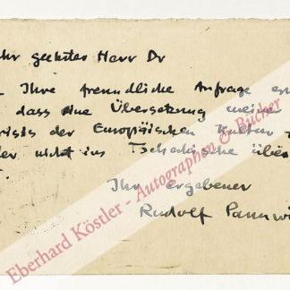 Pannwitz, Rudolf, Schriftsteller (1881-1969).