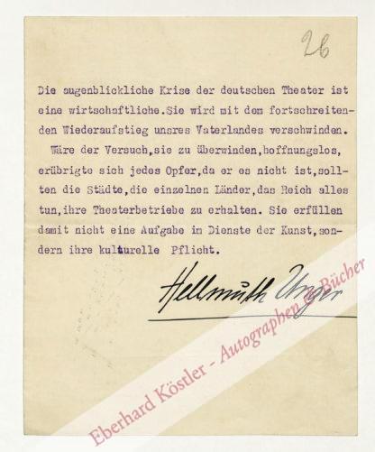 Unger, Hellmuth, Schriftsteller (1891-1953).