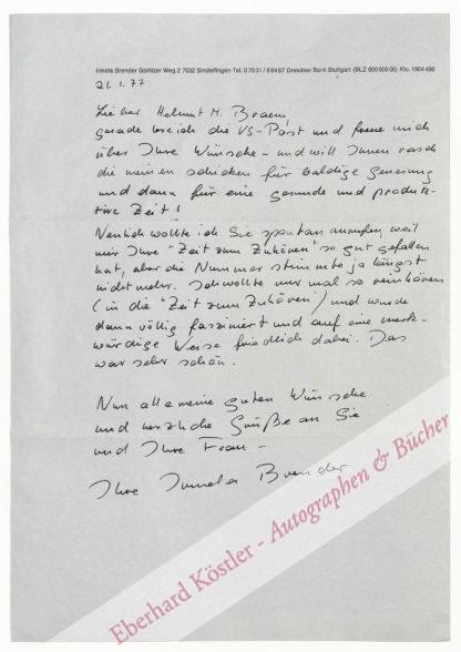 Brender, Irmela, Schriftstellerin (geb. 1935).