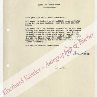 Bruckner, Ferdinand (d. i. Theodor Tagger), Schriftsteller und Theaterleiter (1891-1958).
