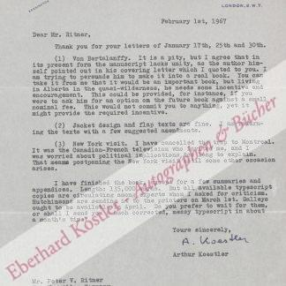 Koestler, Arthur, Schriftteller (1905-1983).
