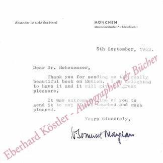 Maugham, William Somerset, Schriftsteller (1874-1965).