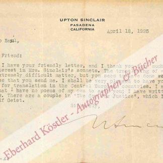 Sinclair, Upton, Schriftsteller (1878-1968).